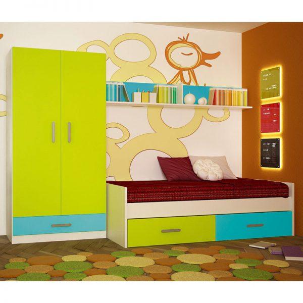 Dormitorio juvenil 424 color blanco/verde/azul